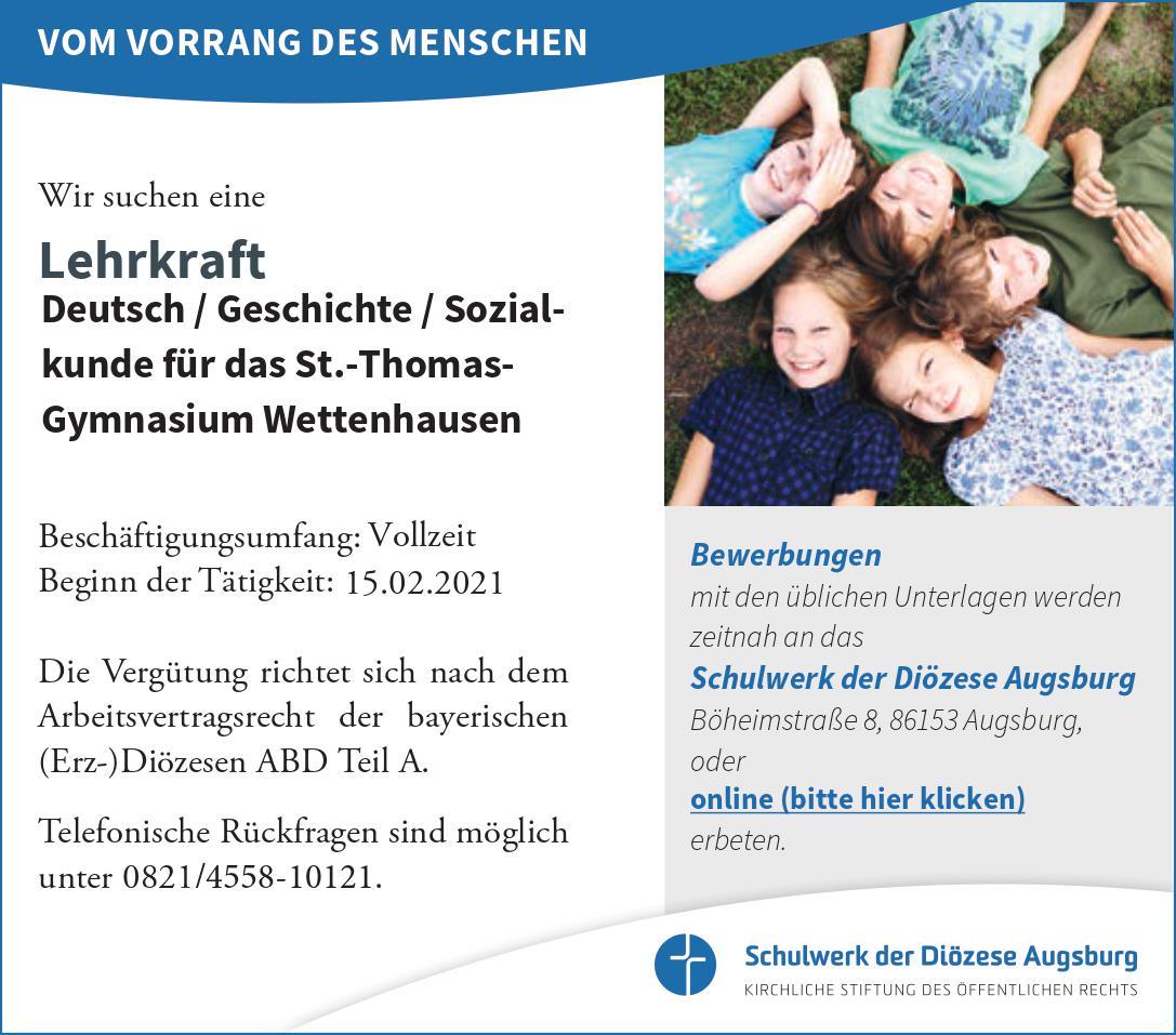 Stellenanzeige Deutsch/Geschichte/Sozialkunde